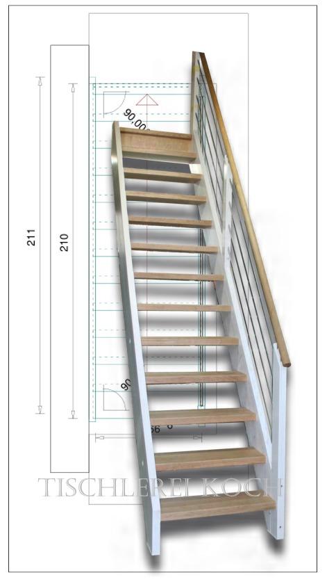 gerade treppe massivolztreppe aus fichte und eiche mit gel nder aus edelstahl. Black Bedroom Furniture Sets. Home Design Ideas