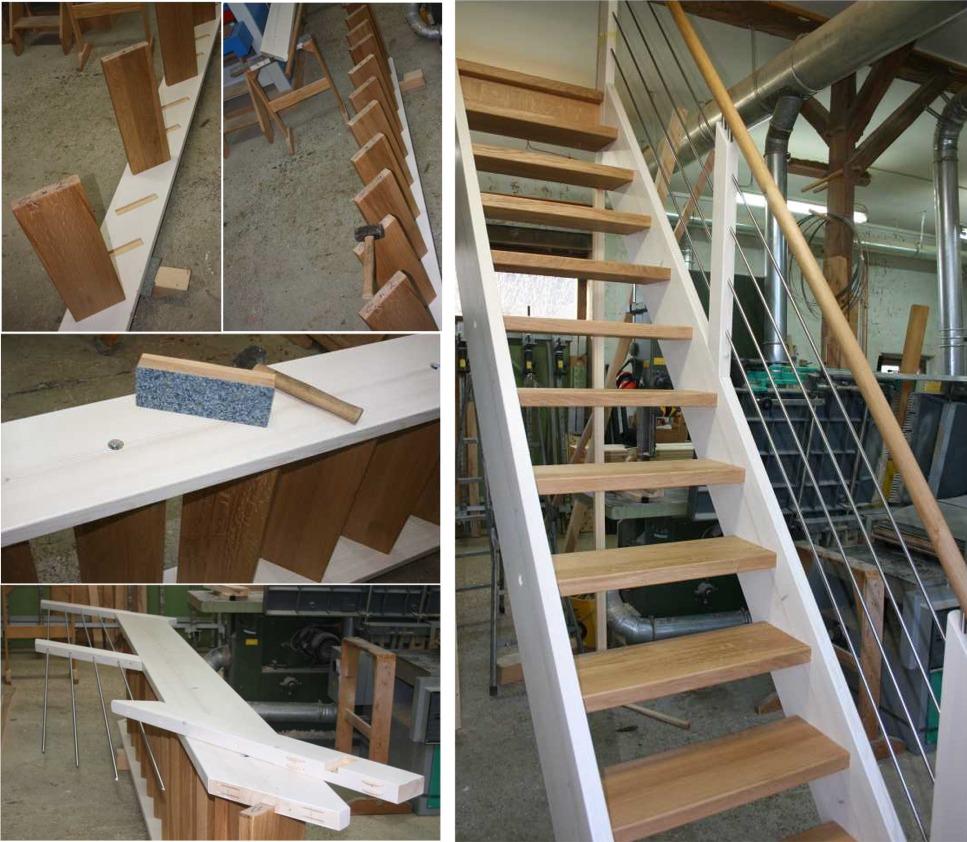 gerade treppe massivolztreppe aus fichte und eiche mit gel nder aus edelstahl ebay. Black Bedroom Furniture Sets. Home Design Ideas